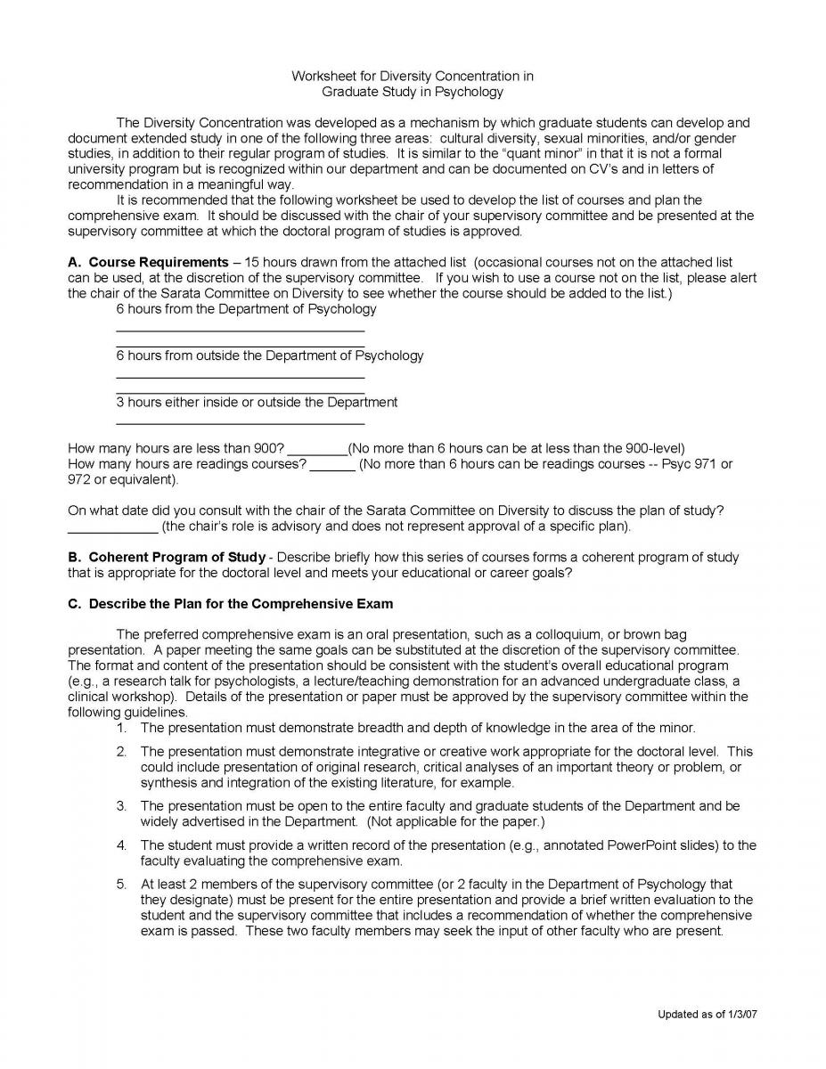 Diversity Concentration Worksheet | Psychology Department Sarata ...